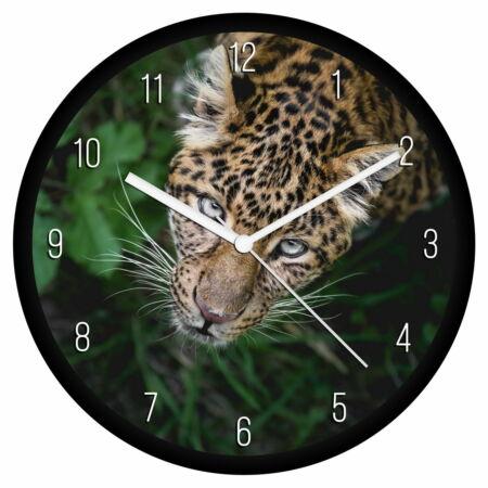Fürkésző leopárd falióra